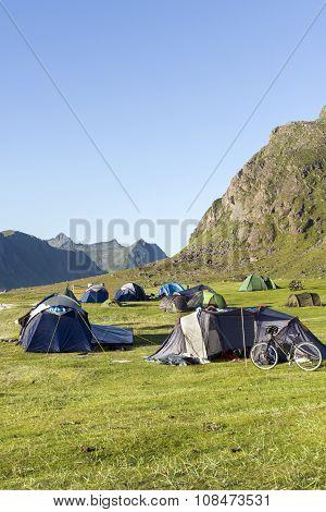 Cycling And Camping At Lofoten Island, Norway