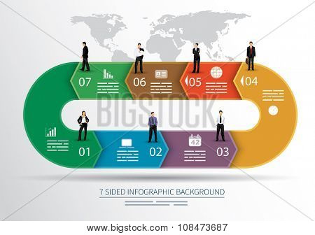 7 sided infographics background for statistics, banners, ads, websites and printed media
