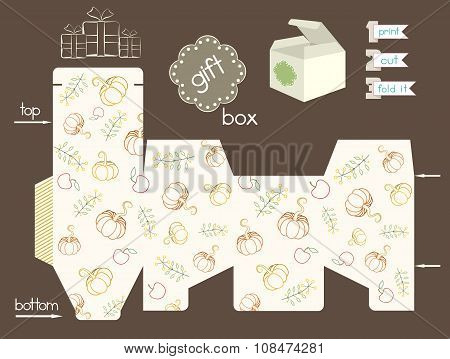 Printable Gift Box With Pumpkins And Apples And Flowers