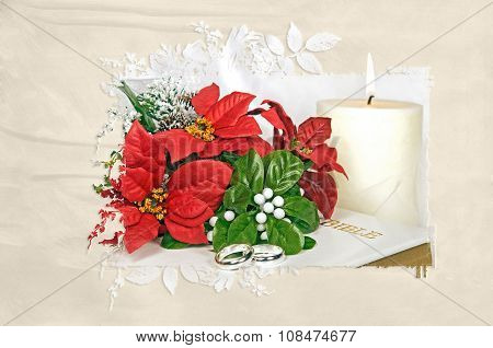 poinsettia wedding bouquet with rings