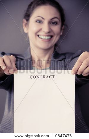 Business Woman Showing Contract