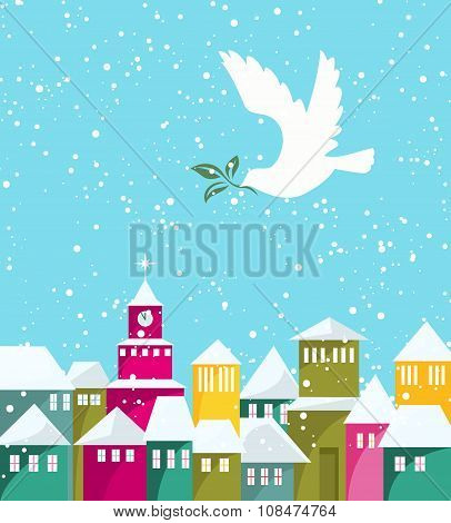 Winter Season Houses And White Dove With Green Branch