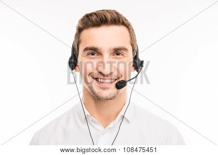 Young Agent Consulting Clients On The Phone