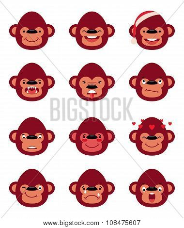 Set Smiley Monkey Isolated On White