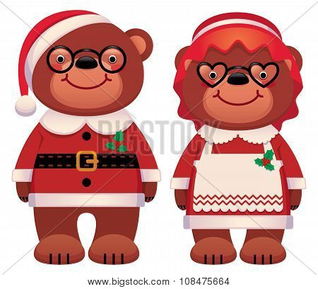 Bear Santa Claus And His Wife  Isolated On White Background