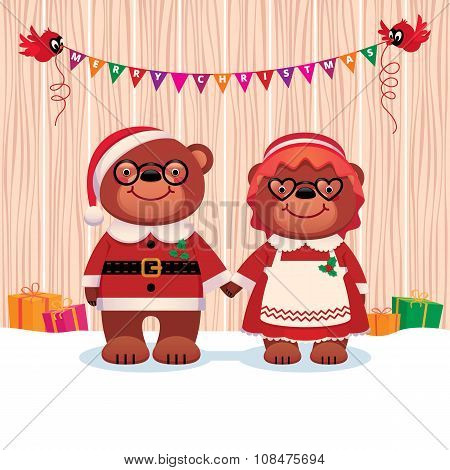 Married Couple Bear Santa Claus And His Wife Isolated On White Background