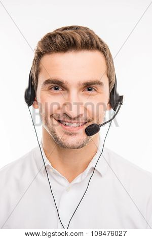 Young Handsome Agent Consulting Clients On The Phone