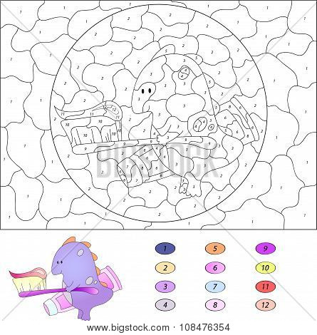 Color By Number Educational Game For Kids. Funny Cartoon Dragon With Toothbrush And Toothpaste. Vect