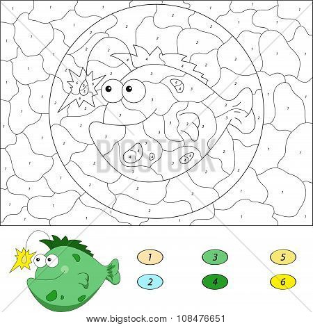 Color By Number Educational Game For Kids. Funny Cartoon Fish Angler. Vector Illustration