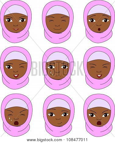 Muslim Girl In A Burqa Emotions: Joy, Surprise, Fear, Sadness, Sorrow, Crying, Laughing, Cunning, Wi