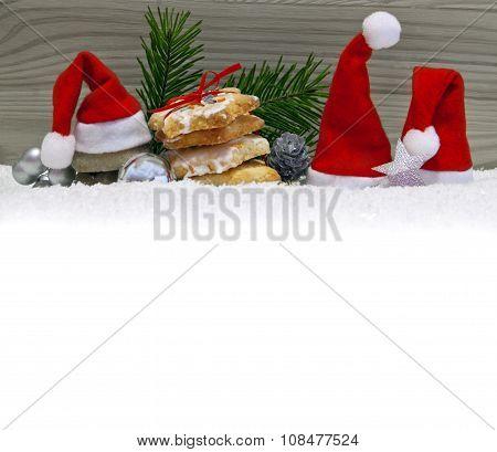 Christmas Cookies and santa's hats .