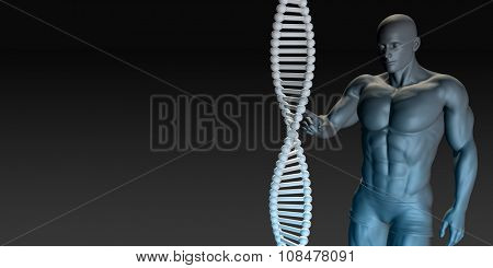 Science DNA Helix Structure with Man Looking or Studying