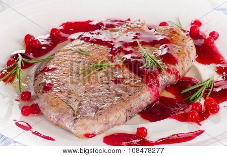 Turkey Breast With Cranberry Sauce On A Plate.