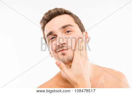 Handsome Young Man Touching His Face After Shave