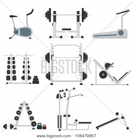 The most popular exercise machines in a flat style