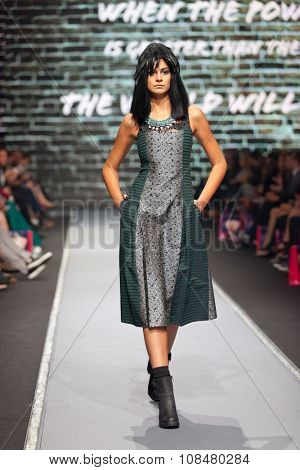 ZAGREB, CROATIA - OCTOBER 31, 2015: Fashion model wearing clothes designed by Zoran Aragovic (BiteMyStyle) on the 'Fashion.hr' fashion show