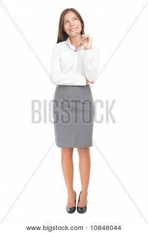 Thinking Woman On White Background