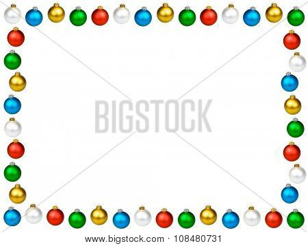 Christmas baubles of different colors frame with white background