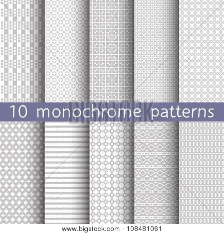 10 Monochrome Seamless Patterns