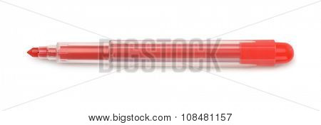 Top view of red felt tip pen isolated on white