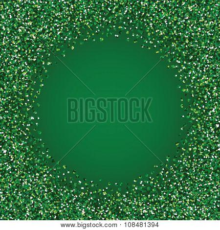 Glitter green round frame.