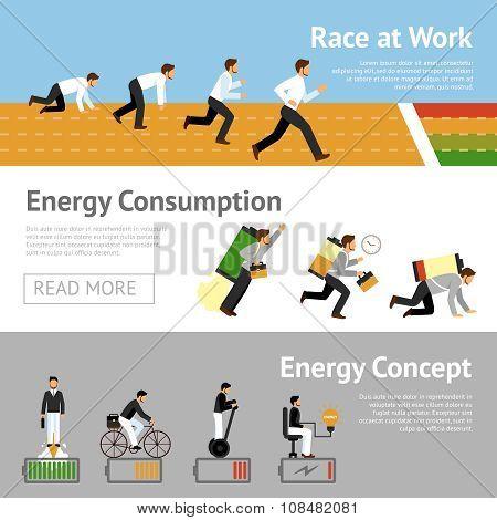 Businessman Energy Banner Set