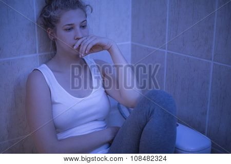Lonely Girl In Toilet