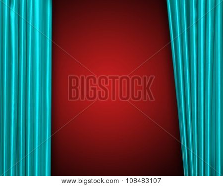 Blue curtain on theater or cinema stage slightly open