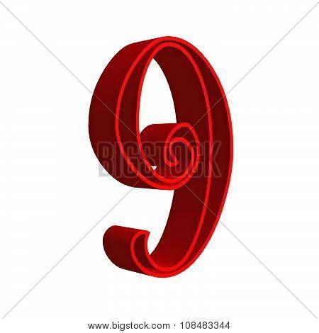 3D number nine 9