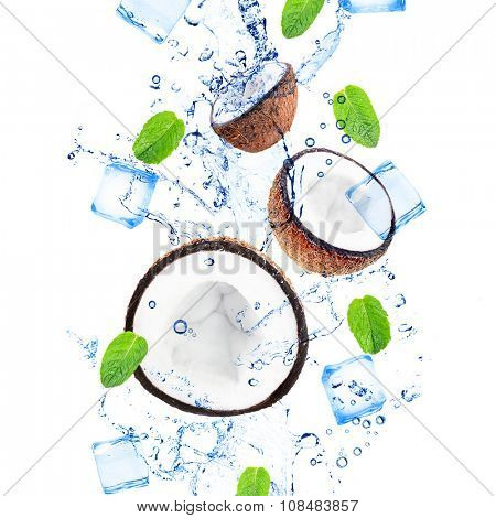 Coconuts and mint leaves in water splashing isolated on white