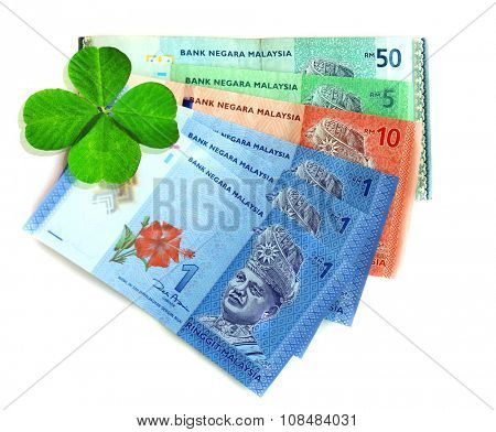 Money banknotes with clover leaf isolated on white
