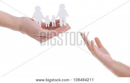 Concept of united family isolated on white background