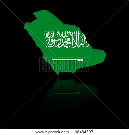 Saudi Arabia map flag with reflection illustration