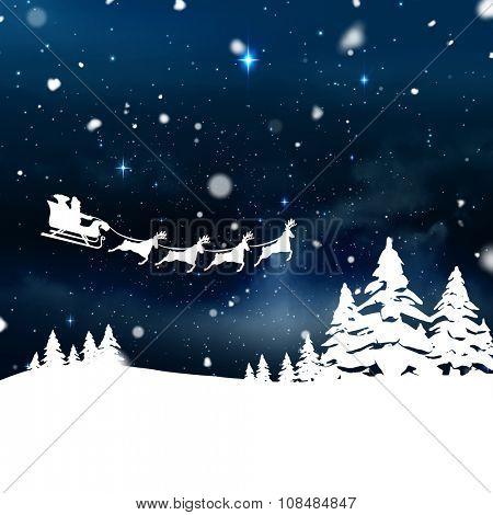 Christmas scene silhouette against stars twinkling in night sky