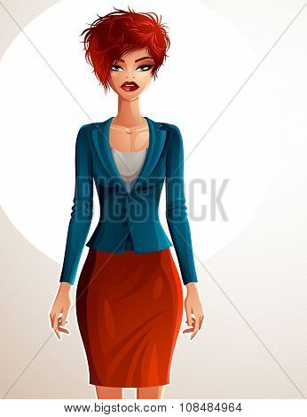 Beautiful Business Lady Illustration, Full Body Portrait Of Sexy Slim Red-haired Female H