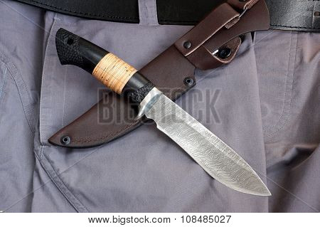 Knife Tourist From Damascus  Steel