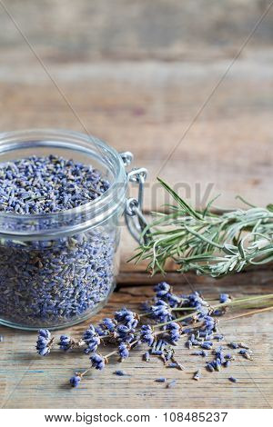 Healthy Lavender Tea In Jar And Dry Lavender Flowers. Selective Focus.