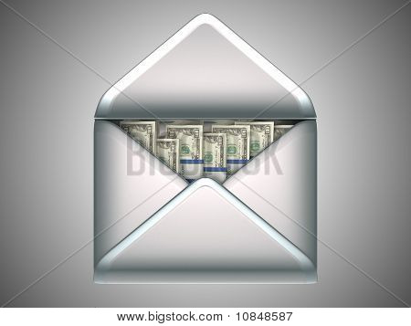 Money Transfer - Us Dollars In Opened Envelope