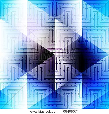 Abstract blue pattern in matrix technology style