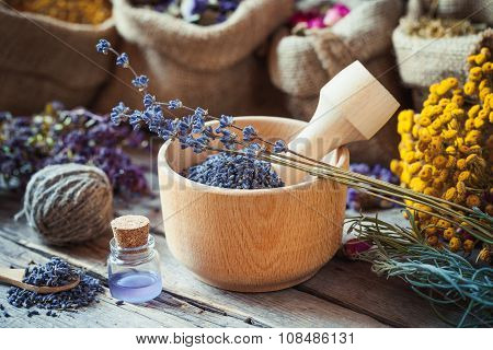 Healing Herbs In Hessian Bags, Wooden Mortar With Lavender Flowers, Bottles With Tincture, Herbal Me