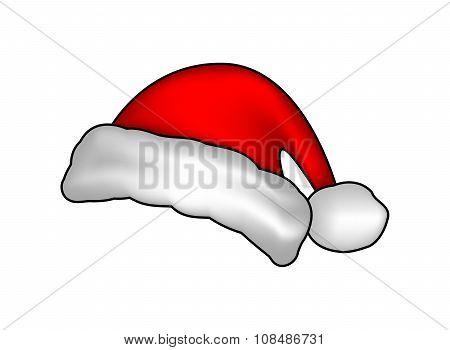 Santa Hat, Christmas Cap Icon, Symbol, Design. Winter Vector Illustration Isolated On White Backgrou