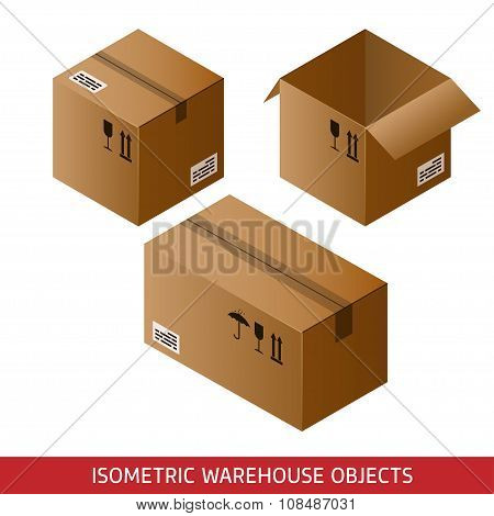 Set Of Isometric Cardboard Boxes Isolated On White Background. 3D Warehouse Objects. Isometric Vecto