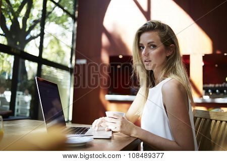 Woman freelancer using net-book for distance work during coffee break