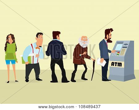 illustration of a queue of people to the ATM. vector.