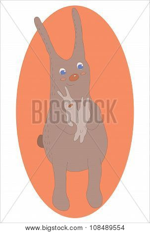 Cute baby bunny and adult cuddling, hugging, happy, for easter or baby shower card. Hand drawn line