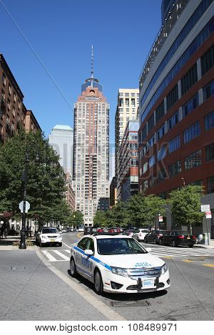 NYPD car provide security near Freedom Tower