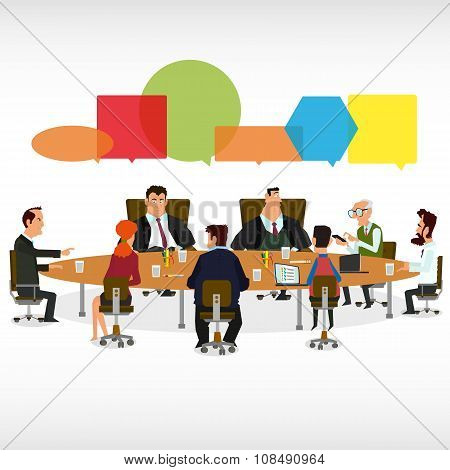 Business Meeting and Speech Bubbles