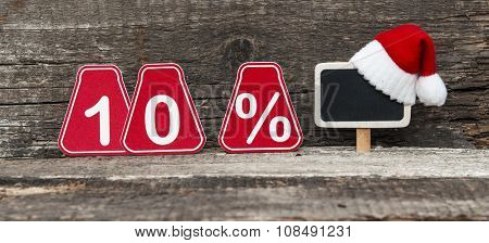 christmas discount with ten percent sign.