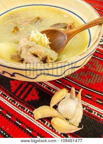 traditional romanian gourmet chicken jelly with garlic and horseradish