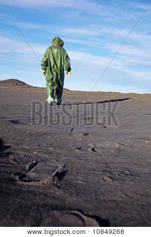 Scientific Ecologist In Overalls In Desert